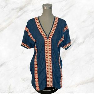 Zara TRF | Jean Colourful Band Accented Tunic Top